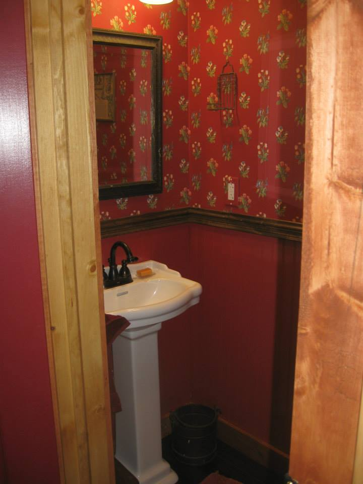 "This doesn't begin to show how CUTE the powder room is—Jim called it the ""Pouter Room""–I like it."